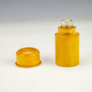Antique Polished Wood - Pocket Travel Inkwell Ink Bottle