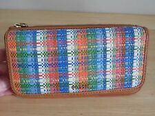 Fossil Memoir Colorful Straw Top Zip Flap Clutch Wallet  Excellent Condition