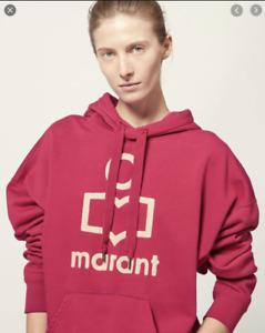 $355 ISABEL MARANT ÉTOILE Embroidered Logo Sweatshirt 36 S M Pink Fuchsia Hoodie