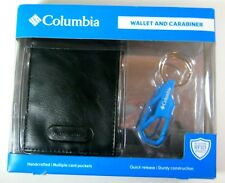 Columbia Men's Bifold Leather Wallet RFID Security Black And Carabiner Set $42