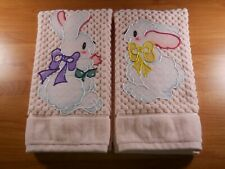 Set of 2 Easter Bunny Bathroom or Kitchen Appliqued Hand Towels on Pink New