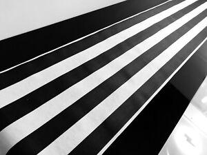 "BLACK & WHITE Striped Teflon Table Runner For Wedding Events 12"" wide Any Length"