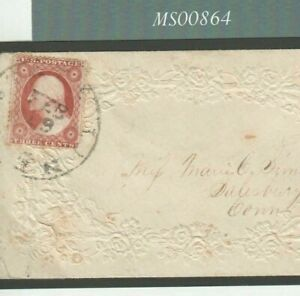 USA Fancy Embossed VALENTINE Cover 1858 3c *State Line CT* CDS Wafer Seal MS864
