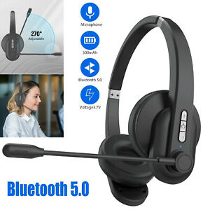 Bluetooth Headset Wireless Trucker Driving Office Headphone Noise Cancelling Mic