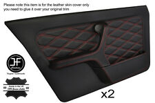 RED DIAMOND STITCH 2X FULL FRONT DOOR CARD LEATHER COVERS FITS BMW E30 SALOON