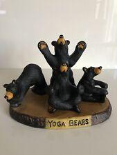 """Bearfoots By Jeff Fleming """"Yoga Bears"""" Black Bear Figurine Big Sky Carvers"""