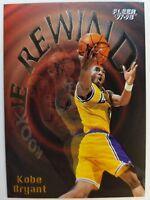 1997-98 Fleer Rookie Rewind #3 Kobe Bryant RC Insert, Lakers Black Mamba, HOF