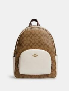 Coach Large Court Backpack In Signature Canvas Im/Khaki/Chalk NWT $450 Value!!!