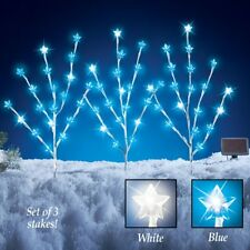 Set of 3 Solar Powered White Star Branches Outdoor Christmas Garden Stakes