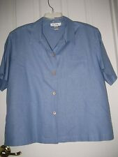 NEW XL Blue White H LOOK Sandwashed 100% SILK Button Down BLOUSE TOP Jacket S/S