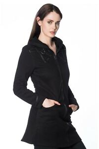 Women's Black Gothic Punk Rockabilly Stardust Coat Jacket Hoodie BANNED Apparel
