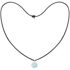 Tresor Paris Light Blue & White Spiral 14mm Crystal Pendant, Black Cord Necklace