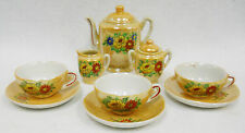 Vintage Hand Painted Peach Lusterware Child's Toy Dishes Floral Tea Set for 3