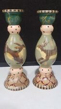 1994 Tracy Porter Stonehouse Farm Pair Handpainted Rabbits Wood Candle Holders