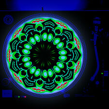 Dj Turntable Slipmat 12 inch Glow under Blacklight - High Happy Sugar Skull