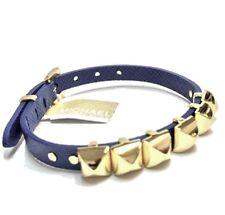 Michael Kors Pyramid Saffiano Leather Bracelet Navy Gold MKJ2963710 New $85.00