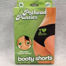 Pothead Panties I Love Weed Booty Shorts M/L Black w/ Pot Leaf Pasties Lingerie