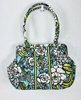 Vera Bradley Island Blooms Hand Bag Purse Shoulder Bag Tote Floral Green Frame