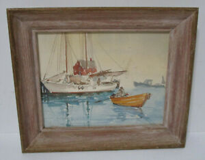 Vintage 1950's Boats at the Dock Watercolor Artist Signed