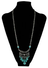 New Design Long Tassels Pendants Turquoise Chain Necklace For Women jewelry Gift