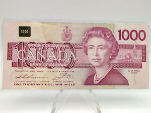 1988 Bank of Canada $1,000 Dollar Bill **Minor Damage, But Nice Eye Appeal** #2