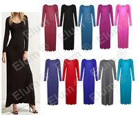 New Womens Plus Size Plain Long Jersey Scoop Neck Maxi Dress 8-26