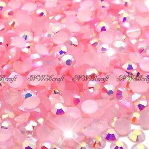 Rose Pink AB 1000pcs Rhinestone Beads Flat Back Nail Art Craft Gems