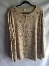 Fashion Bug Knit Top Size 22/24W Comfy Floral Long Sleeve Tan Shirt Travel