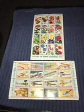 2 Sheets Stamps Guinea Ecuatorial Flowers Airplanes MNH