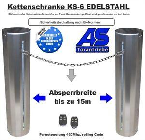 Kettenschranke Kettensperre KS6 mit LED-Blinkleuchte - EDELSTAHL Schranke
