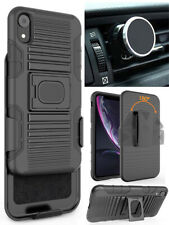 Black Rugged Case Cover Stand Belt Clip + Magnetic Car Mount for Apple iPhone XR