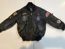 Knox Armory Military Black Leather Pilot Bomber Jacket Kids Size 4T