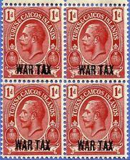 TURKS & CAICOS, KING GEORGE V, 1918 WAR TAX, OVERPRINT, MNG, BLOCK OF 4 (D)