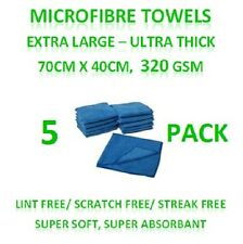 New 5 Microfibre Towels - Extra Large Thick Cleaning Cloths 70cm x 40cm 320GSM