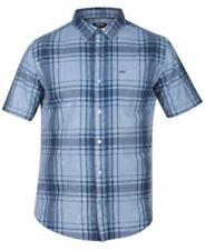Hurley Archer Short Sleeves Plaid Shirt Mica Blue Mens Size XL New