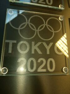 Olympic Tokyo 2020 Engraved 4mm Tempered Glass Coaster with protective bumpons