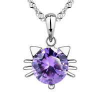 925 Sterling Silver Small Amethyst Cat Pendant Necklace Women's Girl Jewelry