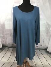 BRYN WALKER ASYMETRIC Lagenlook TUNIC Blouse DRESS TOP Layer BLUE Medium ■B
