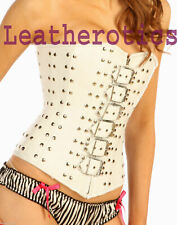 Gothic Bridal White Leather Corset Overbust Steel Studded Top