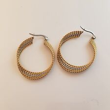Twisted Layered Hoop Earring 30mm Stainless Steel Gold and Silver Lever Close