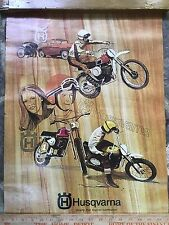 1970s Vintage Motocross Dirt bike Riders Advertising Husqvarna Poster