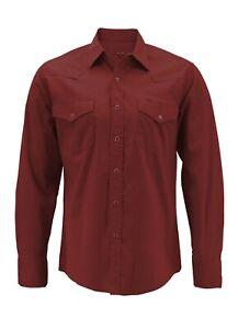 Men's Pearl Snap Button Long Sleeve Western Slim Fit Stretch Cowboy Dress Shirt