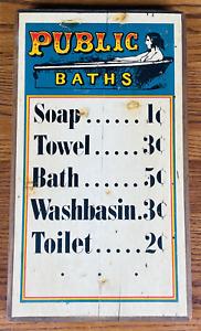 "VINTAGE 1970 PUBLIC BATHS WOOD SIGN 16x9"" Large Wall Plaque Stars & Stripes"