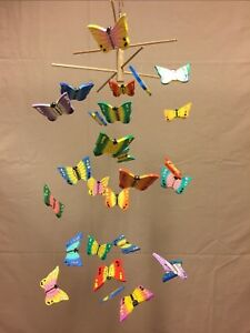 Folk Art Wood Butterfly Mobile Handmade & Painted Indonesia 27 Piece GIFT