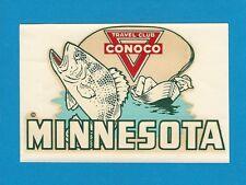 "VINTAGE ORIGINAL 1950 SOUVENIR ""MINNESOTA CONOCO TRAVEL CLUB"" WATER DECAL ART"