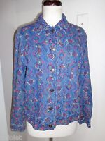COLDWATER CREEK 100% COTTON EMBROIDERED BUTTON FRONT TOP SHIRT BLOUSE SZ PL