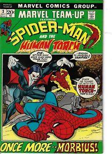 Marvel Team-Up 3 Morbius Spider-Man Human Torch VF 1972 Glossy