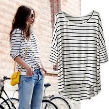 White Breton Striped Slouchy Oversized  Tee T-shirt Long Top