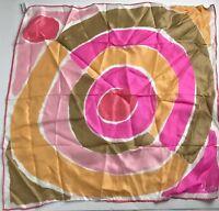 VERA NEUMANN Scarf Silk Blend Vintage 60s Floral Geometric Vtg Neck Japan Pink