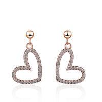 Fashion Elegant Jewelry 925 Sterling Silver Zircon Heart Stud Dangle Earrings